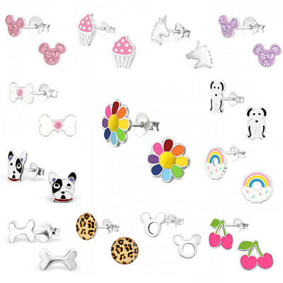 925 Sterling Silver Earrings Studs Girls Cute Kids Unicorn Rainbow Daisy Heart 2