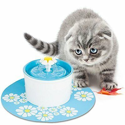 Flower Pet Drinking Water Fountain Electric Cat Dog Automatic Bowl Filter 1.6L 3