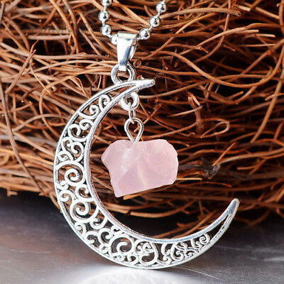 Natural Quartz Crystal Pendant Chakra Healing Gemstone Moon Necklace Jewelry 3