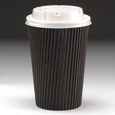 50 X 455ml Negro 3-PLY Ripple Desechable Papel Café Tazas - GB Fabricante 2