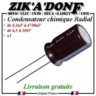 Condensateur chimique électrolytique 0,1uf à 4700uF de 6,3 à 100V  1 à 5 pièces 2