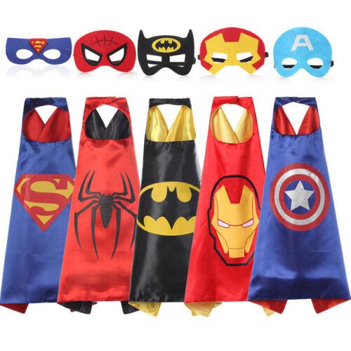 superhelden umhang cape kinder spiderman heros mit maske halloween kost m batman eur 6 49. Black Bedroom Furniture Sets. Home Design Ideas