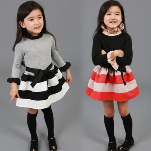 793cd6cca061 Toddler Girls Tutu Dress Princess Party Long Sleeve Skater Kids Dresses  Skirts 5 5 of 10 ...
