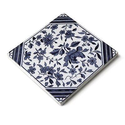Antique Tile Victorian Aesthetic Japonesque Floral International Tile Delft Blue 11