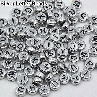 100Pcs Spacer Acrylic Beads Cube Alphabet Letter Bracelet Jewelry Making DIY HOT 11