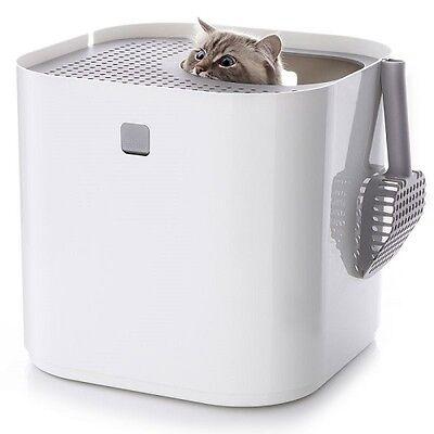 Enclosed Cat Litter Box No Smells Discreet Stop Litter Spreading Modern Design 2