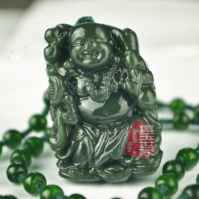 Natural Hand-carved Chinese Hetian Jade Pendant - Buddha a1126 5