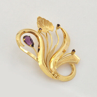 Glorious Beautiful  Euro Art Nouveau Period 18k Floral Brooch/ pin
