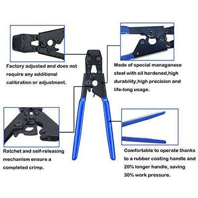 "US PEX Pipe Cinch Crimping Tool with Clamp Blue 1/2"" and 3/4"" Clamps Kit 6"