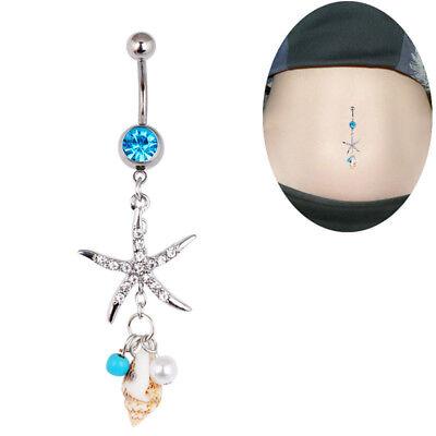 Chirurgenstahl Crystal Seestern Conch Körper Bauchnabel Bauchnabel Piercing Bar