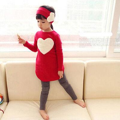 Ragazze Fascia +T-Shirt SET Bimbi Bambini Koreana Vestiti Manica Lunga Camicie 3