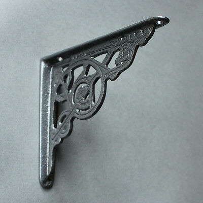 "2 x PEWTER 5x4"" SMALL ANTIQUE CAST IRON VICTORIAN WALL SHELF BRACKETS - BR02px2 2"