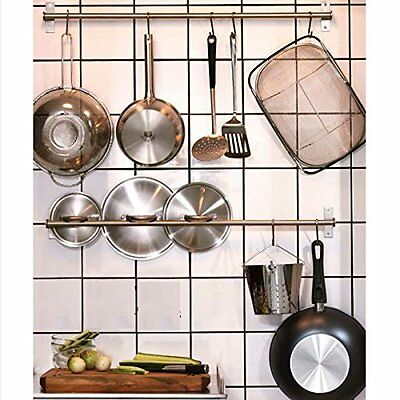 Wall Mount Rail 10 S Hooks Set Utensil Pot Pan Lid Holder Rack Kitchen Organizer 9