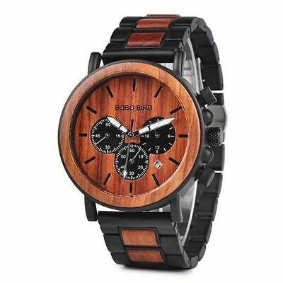 Luxury Design BOBO BIRD Japan Quartz Wrist Watch Men Women 44mm Gift Box Wood 2
