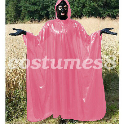 100% Latex Rubber Full-Body Long Coat Hooded Rain Catsuit Fashion Size S-XXL 4