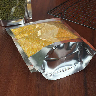 Aluminum Foil Mylar Food Packaging Ziplock Stand Up Pouches Bags Clear / Silver 9