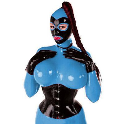 Unisex Latex Rubber Catsuit Rot&Schwarz 100% Gummi Bodysuit With Mask Cosplay 7