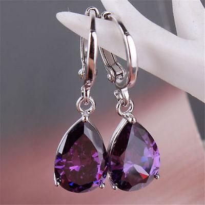 Women's Fashion 925 Sterling Silver Ear Stud Dangle Hoop Party Gamstone Earrings 5