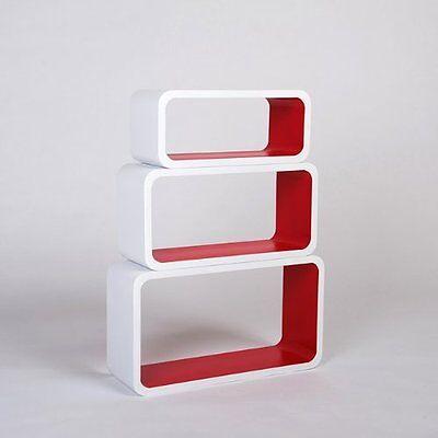 Set of 3 Floating Wall Shelf Floating Shelves Storage living Lounge Wood Cube 16 3