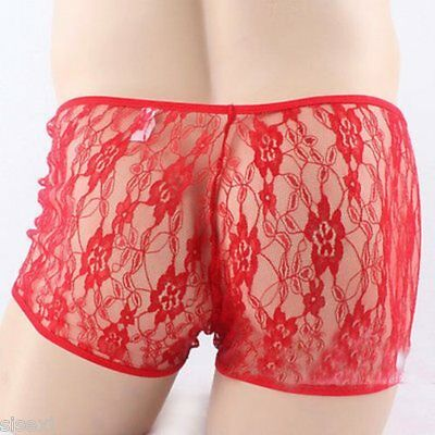 Boxer M L Dentelle Sexy Homme Rose Pink Thong Man Underwear Uomo Lenceria Mann 11