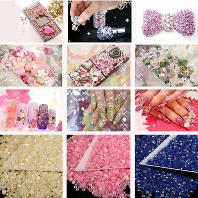 2000 Choose Colour Crystal Flat Back Nail Art Face Festival Rhinestones Gems 8