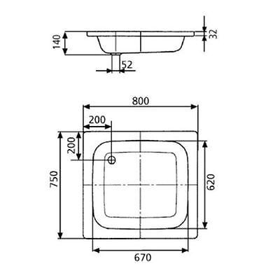Wannenträger und Ablauf Kaldewei Sanidusch 548-1 Stahl Duschwanne 80x75 cm inkl