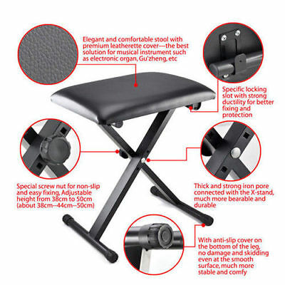 Adjustable 3 Way Folding Keyboard Piano Stool Bench Seat Chair POST FROM SYD 6