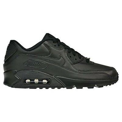 Nike Air Max 90 Leather All Black New Men Roshe Huarache Presto Retro 302519-001 5
