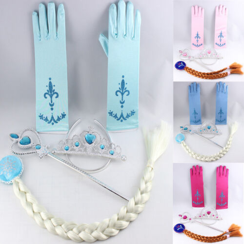Frozen Princess Queen Elsa Anna Tiara Crown Wig Wand Gloves Girls Party Cosplay