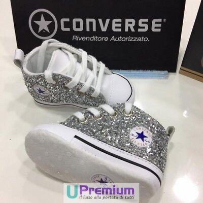 CONVERSE ALL STAR Glitter Argento Neonato [Prodotto Personalizzato ...