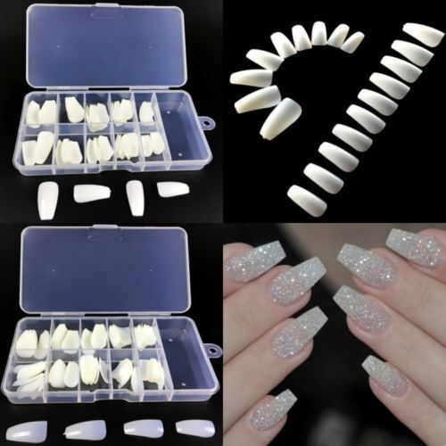 100Pcs Women Coffin Shape Long Nail Art Tips False Full Cover Ballerina Nails