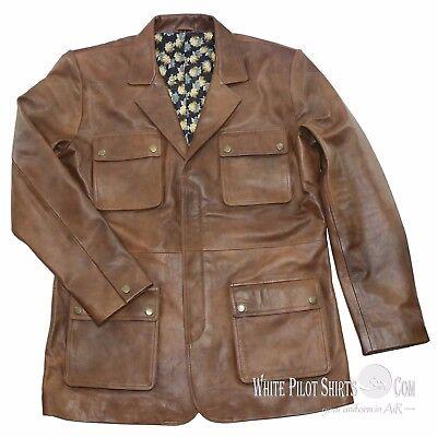 Douglas Blazer Leather Jacket Men Military style Vintage Antique Brown 4 pockets 7
