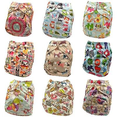 Reusable Washable Baby Cloth Nappy Nappies Diaper Waterproof Surface Free Insert 4
