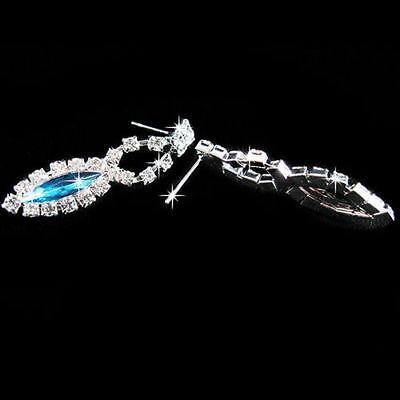 9c42cc38088b1 ... Parure bijoux Strass turquoise collier boucle d'oreille mariage  cérémonie soirée 2