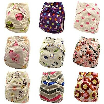 10 x Reusable Modern Cloth Nappies & Inserts All Size Diapers Print Bulk sales 2
