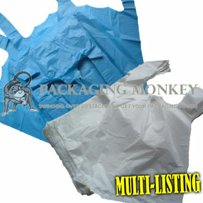 Plastic Vest Carrier Bags Blue Or White *all Sizes* - Supermarkets Stalls Shops