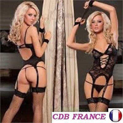"""SEXY FEMME LINGERIE BODY DENTELLE NOIR  Taille M + String """" Envoi de France"""