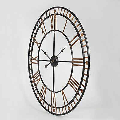 60Cm Extra Large Roman Numerals Skeleton Wall Clock Big Giant Open Face Round 5