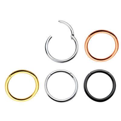 Septum Clicker Nose Ear Tragus Hinged Segment Ring Titanium Colour 1.2mm 1.6mm 2
