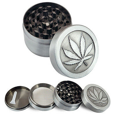 Tobacco Herb Spice Grinder 4 Piece Herbal Alloy Smoke Metal Chromium Crusher USA