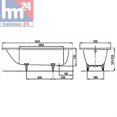 Überlaufgarnitur Träger u Stahl-Badewanne 271 made by Kaldewei 170x75cm weiß m