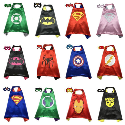 Superman Umhang Cape Kinder Superhero Spiderman Maske Halloween Kostüm Batman