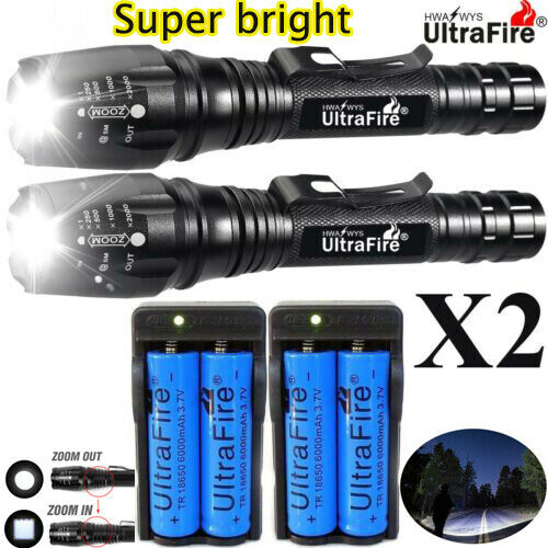 1000000LM T6 LED Rechargeable High Power Torch Flashlight Lamps Light +Charger`` 2