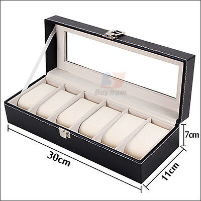 6 Grids Leather Watch Display Case Jewelry Collection Storage Holder Box Gift OZ 5