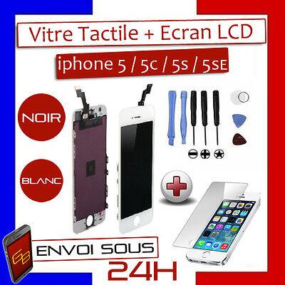 VITRE TACTILE IPHONE 5S / 5C / 5 / 5 SE + ECRAN LCD SUR CHASSIS Grade AAA + FILM 8