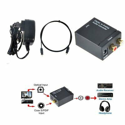 Digital Optical Coaxial Toslink Signal to Analog Audio Converter Adapter RCA IB