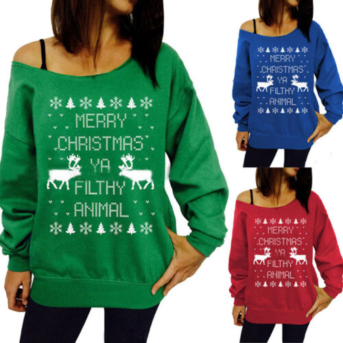 Women One Shoulder Christmas Top Sweater Casual Pullover Jumper Shirt Sweatshirt 2