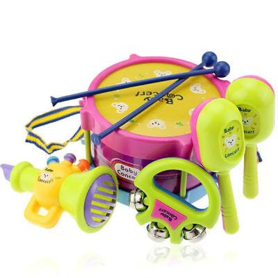 5Pcs/Set Baby Boy Girl Drum Musical Instruments Drum Set Children Toys UK 3