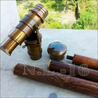 Vintage Brass Telescope Handle Wooden Walking Stick Cane Spyglass Antique Scope 9
