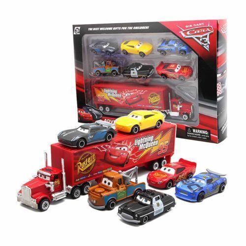 7Pcs/Set Cars 2 Lightning McQueen Racer Car&Mack Truck Collection Toy Kids Gift 2